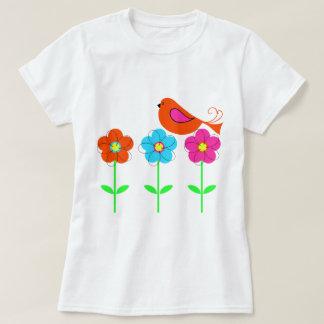 pájaro colorido con las flores coloridas playera