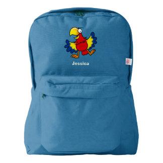 pájaro colorido del loro mochila