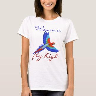 Pájaro colorido del loro que vuela femenino lindo playera