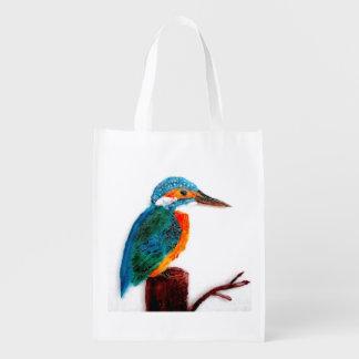 Pájaro colorido del martín pescador bolsas para la compra