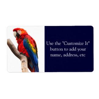 Pájaro colorido hermoso del loro del Macaw del esc Etiqueta De Envío