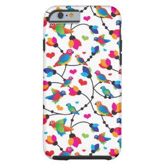 pájaro colorido lindo del loro funda resistente iPhone 6