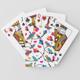 pájaro colorido lindo del loro cartas de póquer