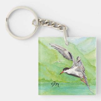 Pájaro común de encargo de la golondrina de mar de llavero cuadrado acrílico a una cara