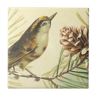 Pájaro con el ejemplo del vintage del cono de teja cerámica