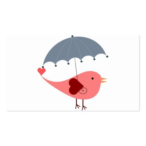 Pájaro con el paraguas tarjetas de visita