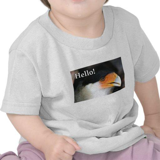 ¡Pájaro con hola! saludo del texto. Caracara con Camiseta