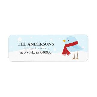 Pájaro con las etiquetas de la bufanda etiqueta de remitente