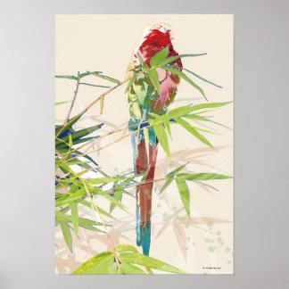 Pájaro con las hojas de bambú impresiones