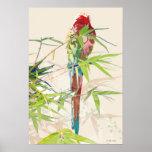 Pájaro con las hojas de bambú póster