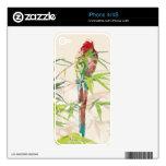 Pájaro con las hojas de bambú calcomanías para iPhone 4S