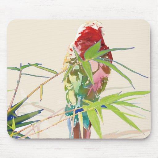 Pájaro con las hojas de bambú alfombrilla de ratones