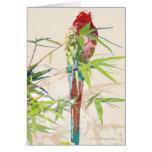 Pájaro con las hojas de bambú tarjetón
