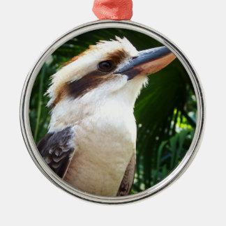 pájaro contra Kookaburra verde Adorno Redondo Plateado
