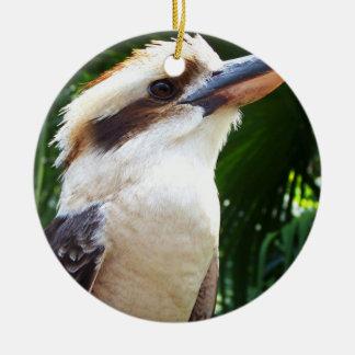 pájaro contra Kookaburra verde Adorno Redondo De Cerámica