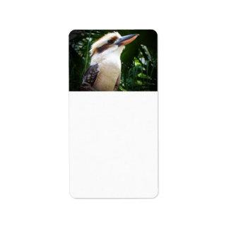 pájaro contra Kookaburra verde Etiquetas De Dirección
