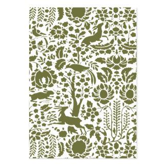 Pájaro, damasco floral de los ciervos tarjetas personales