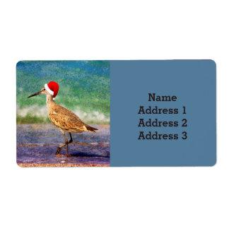 Pájaro de agua en el gorra de Santa en la Etiquetas De Envío