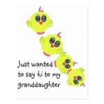 Pájaro de bebé del verde amarillo postales