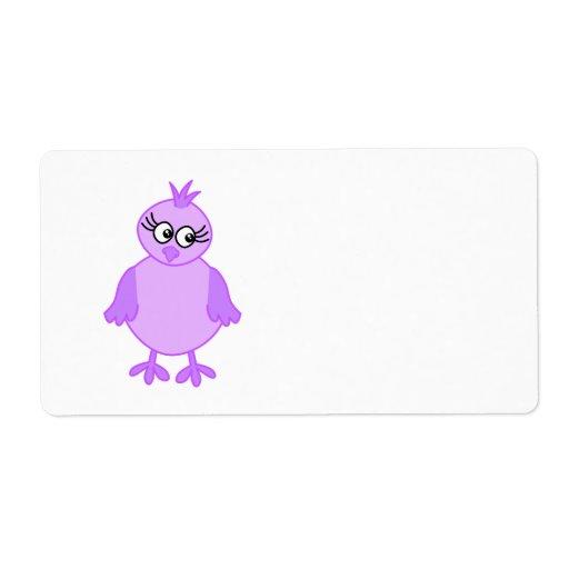 Pájaro de bebé lindo en púrpura y lila etiquetas de envío