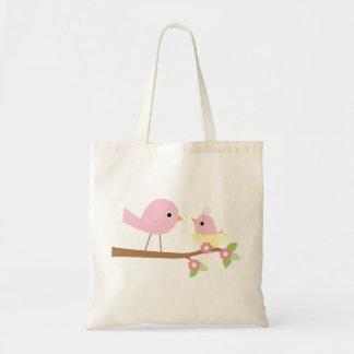 Pájaro de bebé rosado bolsa tela barata