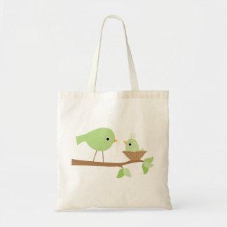 Pájaro de bebé verde bolsa tela barata
