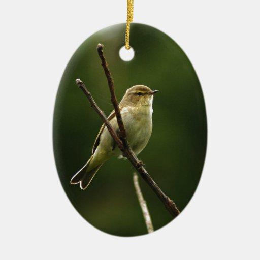 Pájaro de Chiffchaff encaramado en rama Adorno Navideño Ovalado De Cerámica