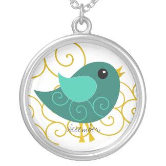 Pájaro de diciembre Birthstone Colgante Redondo