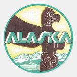 Pájaro de Eagle del tótem del viaje de Alaska del Pegatina Redonda