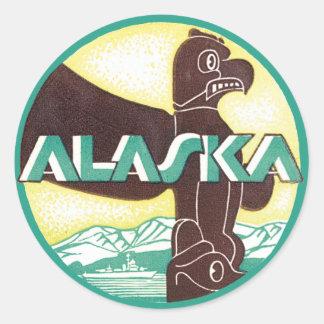 Pájaro de Eagle del tótem del viaje de Alaska del Pegatinas Redondas