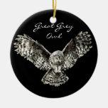 Pájaro de encargo del búho de gran gris de la acua adorno para reyes