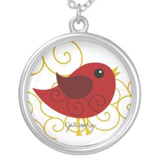 Pájaro de enero Birthstone Colgante Redondo