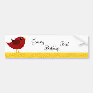 Pájaro de enero Birthstone Etiqueta De Parachoque