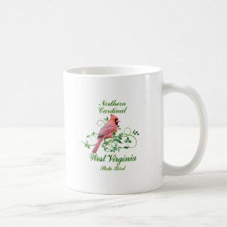 Pájaro de estado cardinal de Virginia Occidental Taza Básica Blanca