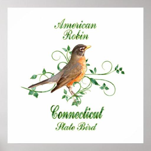 Pájaro de estado de Connecticut del petirrojo Impresiones