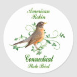 Pájaro de estado de Connecticut del petirrojo Pegatina Redonda