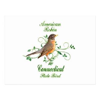 Pájaro de estado de Connecticut del petirrojo Postal
