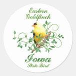 Pájaro de estado de Iowa del Goldfinch Pegatinas Redondas