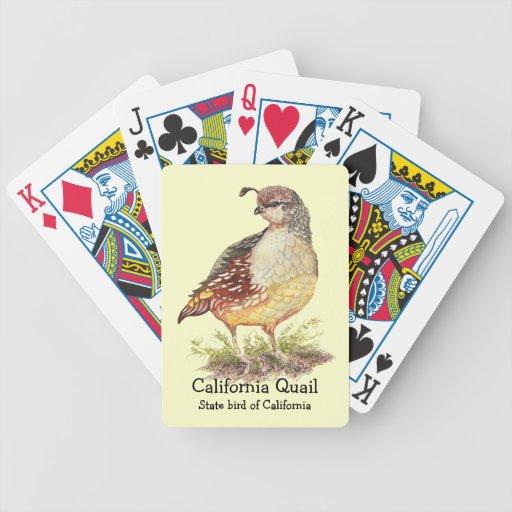 Pájaro de estado de las codornices de California d Cartas De Juego