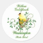 Pájaro de estado de Washington del Goldfinch Pegatinas Redondas