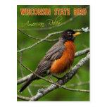 Pájaro de estado de Wisconsin - petirrojo american Postal