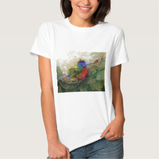 Pájaro de golpe ligero pintado pintor camisas
