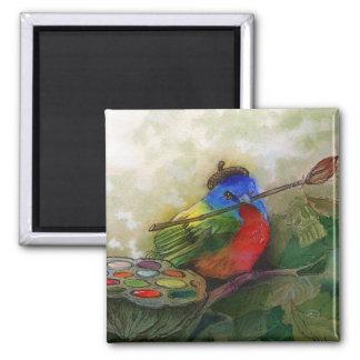 Pájaro de golpe ligero pintado pintor imán cuadrado