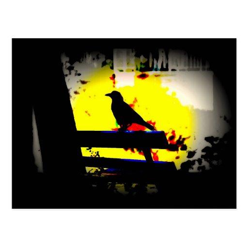 Pájaro de Halloween en sombra negra en diseño del  Tarjetas Postales