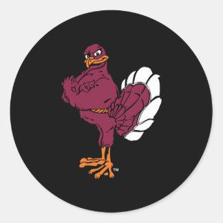 Pájaro de Hokie de la tecnología de Virginia Pegatina Redonda