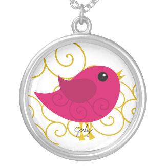 Pájaro de julio Birthstone Colgante Redondo