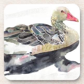 Pájaro de la acuarela del drenaje de la mano, pato posavaso