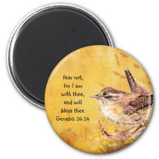Pájaro de la acuarela del estímulo del miedo no imán redondo 5 cm