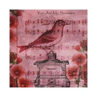 Pájaro de la canción del Hollyhock del vintage Impresiones En Lona Estiradas