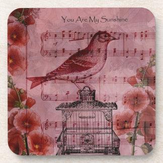 Pájaro de la canción del Hollyhock del vintage Posavasos De Bebidas